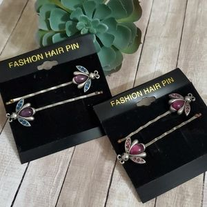 2 Sets of Crystal Accent Bug Hair Pins